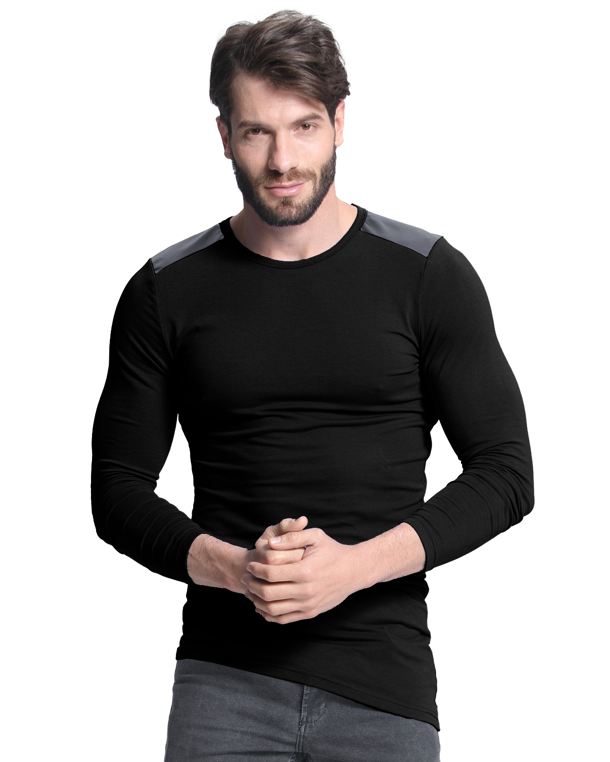 MODCHOK Men's Muscle Long Sleeve Shirts Gym Wear Tee Cotton Hit Color Tops Henley